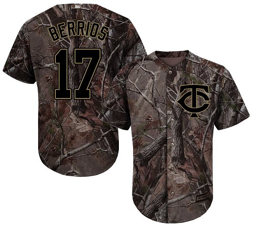 Youth Majestic Minnesota Twins #17 Jose Berrios Authentic Camo Realtree Collection Flex Base MLB Jersey