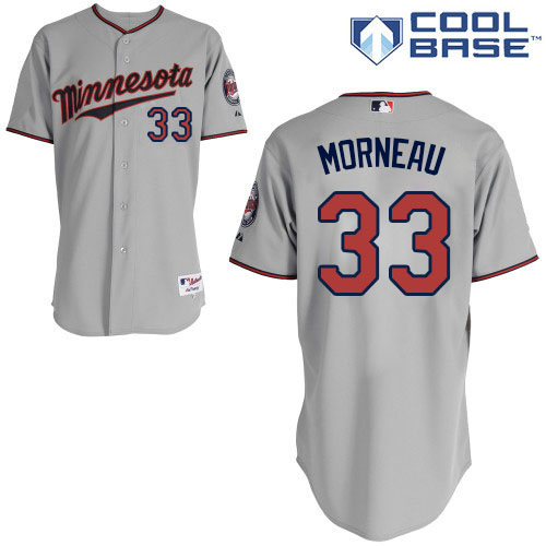 Men's Majestic Minnesota Twins #33 Justin Morneau Authentic Grey Road Cool Base MLB Jersey