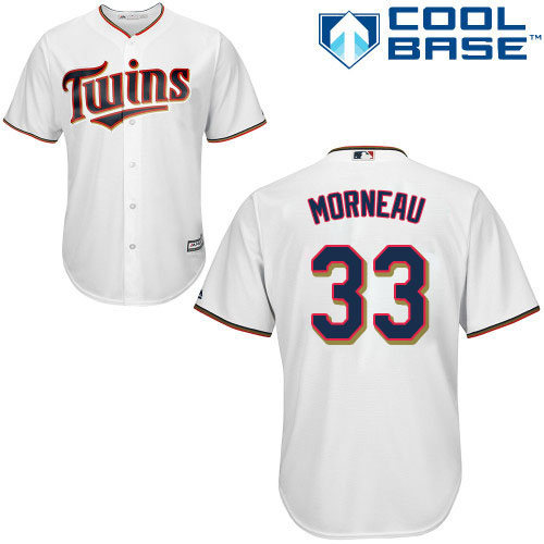 Men's Majestic Minnesota Twins #33 Justin Morneau Replica White Home Cool Base MLB Jersey