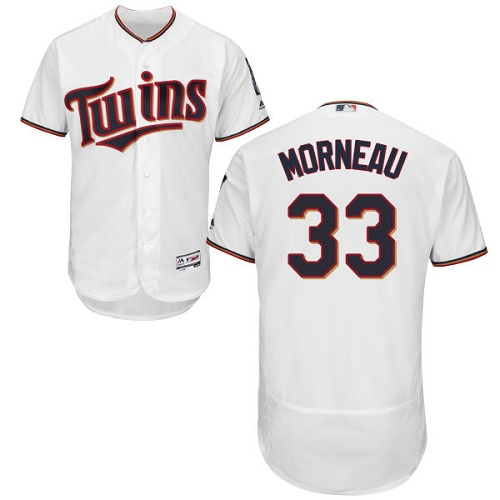 Men's Majestic Minnesota Twins #33 Justin Morneau White Home Flex Base Authentic Collection MLB Jersey