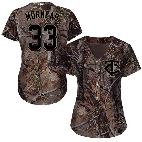Women's Majestic Minnesota Twins #33 Justin Morneau Authentic Camo Realtree Collection Flex Base MLB Jersey