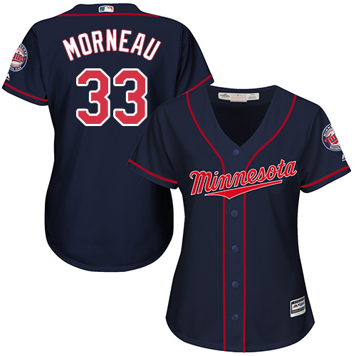 Women's Majestic Minnesota Twins #33 Justin Morneau Authentic Navy Blue Alternate Road Cool Base MLB Jersey