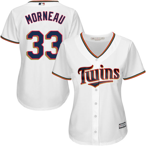 Women's Majestic Minnesota Twins #33 Justin Morneau Authentic White Home Cool Base MLB Jersey