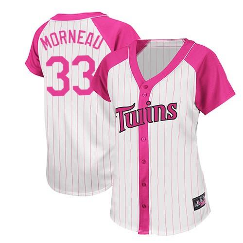 Women's Majestic Minnesota Twins #33 Justin Morneau Replica White/Pink Splash Fashion MLB Jersey