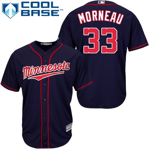 Youth Majestic Minnesota Twins #33 Justin Morneau Authentic Navy Blue Alternate Road Cool Base MLB Jersey