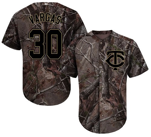 Youth Majestic Minnesota Twins #30 Kennys Vargas Authentic Camo Realtree Collection Flex Base MLB Jersey