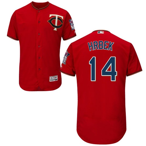 Men's Majestic Minnesota Twins #14 Kent Hrbek Authentic Scarlet Alternate Flex Base Authentic Collection MLB Jersey