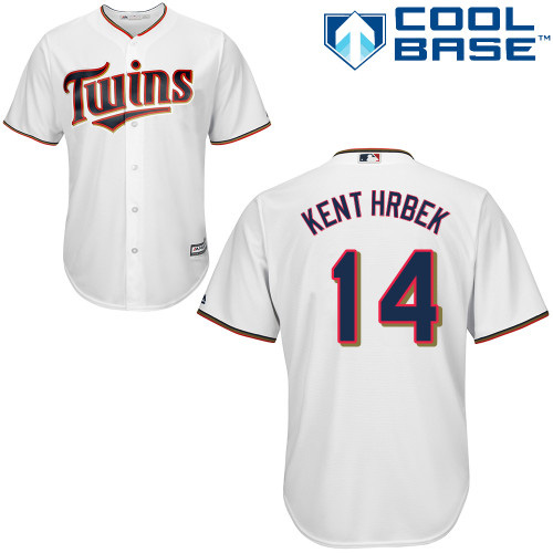 Men's Majestic Minnesota Twins #14 Kent Hrbek Replica White Home Cool Base MLB Jersey