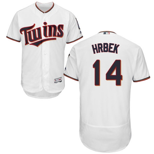 Men's Majestic Minnesota Twins #14 Kent Hrbek White Home Flex Base Authentic Collection MLB Jersey