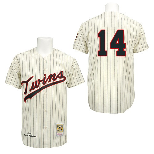 Men's Mitchell and Ness 1969 Minnesota Twins #14 Kent Hrbek Authentic Cream Throwback MLB Jersey