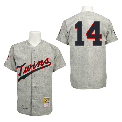 Men's Mitchell and Ness 1969 Minnesota Twins #14 Kent Hrbek Replica Grey Throwback MLB Jersey