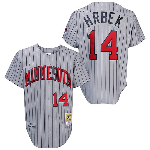 Men's Mitchell and Ness 1987 Minnesota Twins #14 Kent Hrbek Replica Grey Throwback MLB Jersey