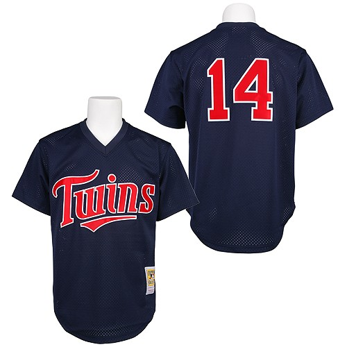 Men's Mitchell and Ness 1991 Minnesota Twins #14 Kent Hrbek Authentic Navy Blue Throwback MLB Jersey