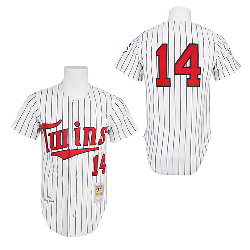 Men's Mitchell and Ness 1991 Minnesota Twins #14 Kent Hrbek Authentic White Throwback MLB Jersey