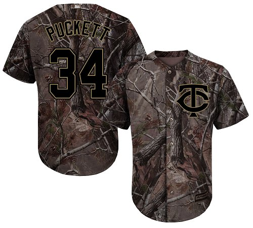 Men's Majestic Minnesota Twins #34 Kirby Puckett Authentic Camo Realtree Collection Flex Base MLB Jersey