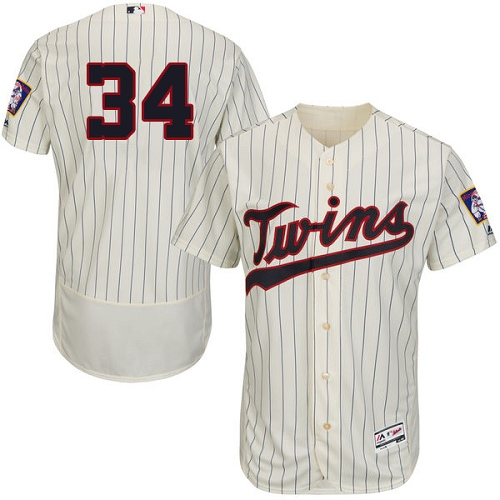 Men's Majestic Minnesota Twins #34 Kirby Puckett Authentic Cream Alternate Flex Base Authentic Collection MLB Jersey