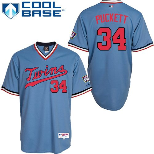 Men's Majestic Minnesota Twins #34 Kirby Puckett Authentic Light Blue 1984 Turn Back The Clock MLB Jersey
