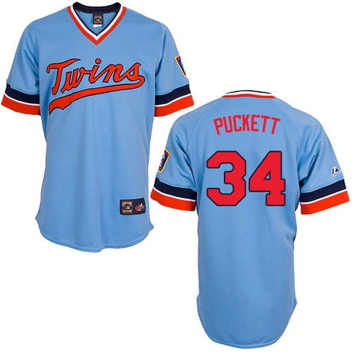 Men's Majestic Minnesota Twins #34 Kirby Puckett Authentic Light Blue Cooperstown Throwback MLB Jersey