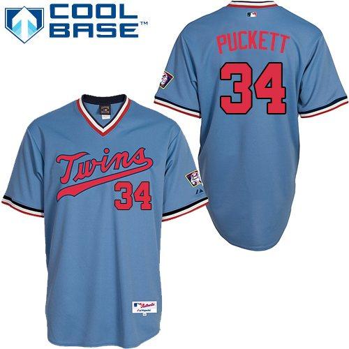Men's Majestic Minnesota Twins #34 Kirby Puckett Replica Light Blue 1984 Turn Back The Clock MLB Jersey