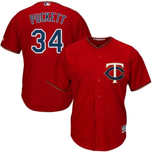 Men's Majestic Minnesota Twins #34 Kirby Puckett Replica Scarlet Alternate Cool Base MLB Jersey