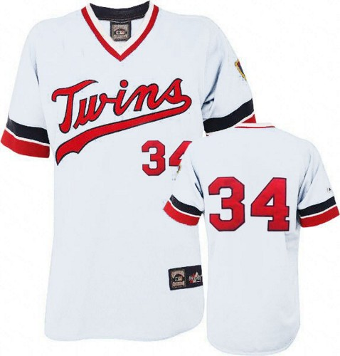 Men's Majestic Minnesota Twins #34 Kirby Puckett Replica White Cooperstown Throwback MLB Jersey