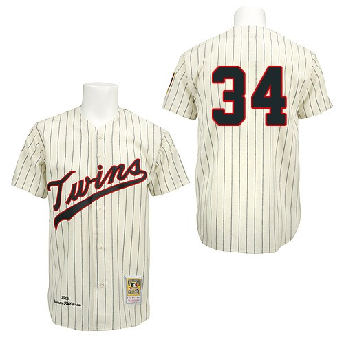 Men's Mitchell and Ness 1969 Minnesota Twins #34 Kirby Puckett Authentic Cream Throwback MLB Jersey