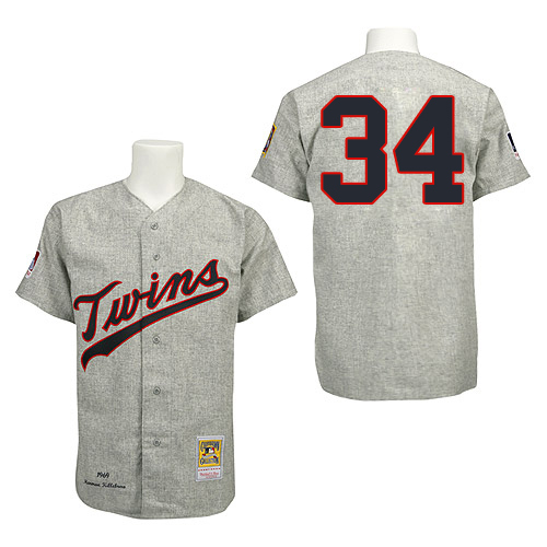 Men's Mitchell and Ness 1969 Minnesota Twins #34 Kirby Puckett Replica Grey Throwback MLB Jersey