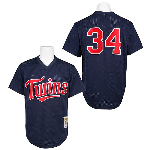 Men's Mitchell and Ness 1991 Minnesota Twins #34 Kirby Puckett Replica Navy Blue Throwback MLB Jersey