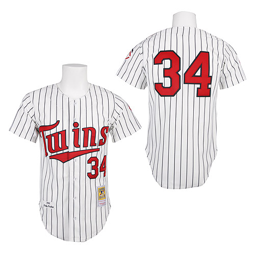 Men's Mitchell and Ness 1991 Minnesota Twins #34 Kirby Puckett Replica White Throwback MLB Jersey