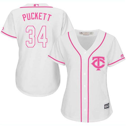Women's Majestic Minnesota Twins #34 Kirby Puckett Authentic White Fashion Cool Base MLB Jersey