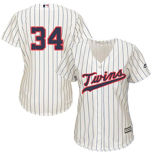 Women's Majestic Minnesota Twins #34 Kirby Puckett Replica Cream Alternate Cool Base MLB Jersey