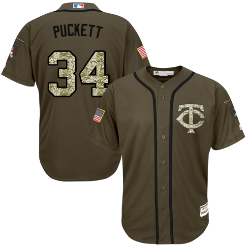 Youth Majestic Minnesota Twins #34 Kirby Puckett Authentic Green Salute to Service MLB Jersey