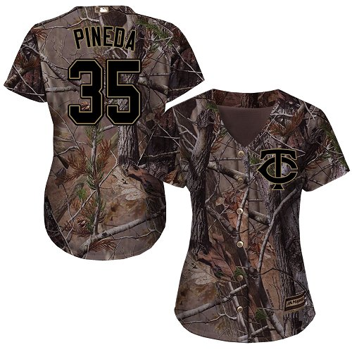 Women's Majestic Minnesota Twins #35 Michael Pineda Authentic Camo Realtree Collection Flex Base MLB Jersey