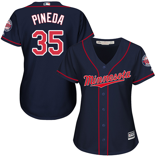 Women's Majestic Minnesota Twins #35 Michael Pineda Authentic Navy Blue Alternate Road Cool Base MLB Jersey
