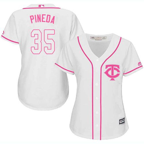 Women's Majestic Minnesota Twins #35 Michael Pineda Authentic White Fashion Cool Base MLB Jersey