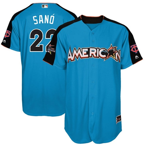 Men's Majestic Minnesota Twins #22 Miguel Sano Authentic Blue American League 2017 MLB All-Star MLB Jersey