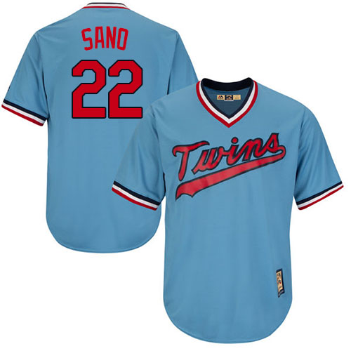 Men's Majestic Minnesota Twins #22 Miguel Sano Authentic Light Blue Cooperstown MLB Jersey