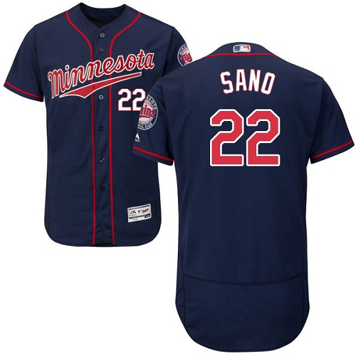 Men's Majestic Minnesota Twins #22 Miguel Sano Authentic Navy Blue Alternate Flex Base Authentic Collection MLB Jersey