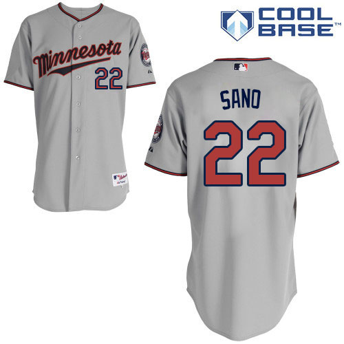 Men's Majestic Minnesota Twins #22 Miguel Sano Replica Grey Road Cool Base MLB Jersey