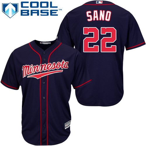 Men's Majestic Minnesota Twins #22 Miguel Sano Replica Navy Blue Alternate Road Cool Base MLB Jersey