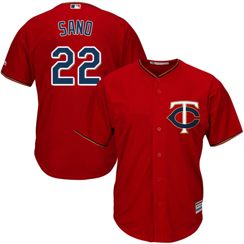 Men's Majestic Minnesota Twins #22 Miguel Sano Replica Scarlet Alternate Cool Base MLB Jersey