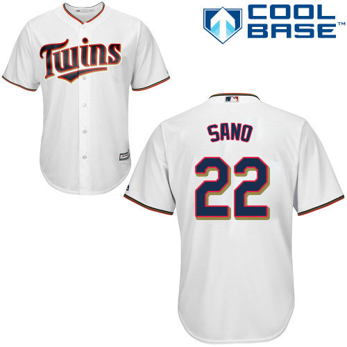 Men's Majestic Minnesota Twins #22 Miguel Sano Replica White Home Cool Base MLB Jersey