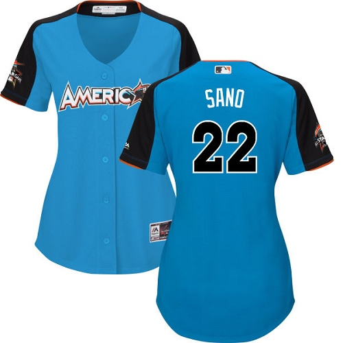 Women's Majestic Minnesota Twins #22 Miguel Sano Replica Blue American League 2017 MLB All-Star MLB Jersey
