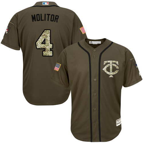 Men's Majestic Minnesota Twins #4 Paul Molitor Authentic Green Salute to Service MLB Jersey