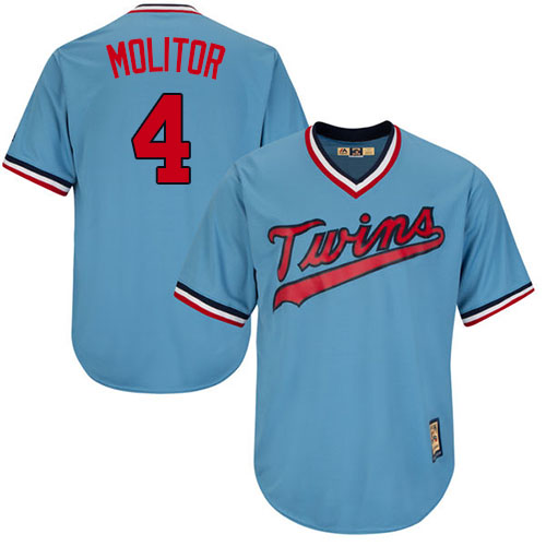 Men's Majestic Minnesota Twins #4 Paul Molitor Authentic Light Blue Cooperstown MLB Jersey