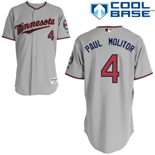 Men's Majestic Minnesota Twins #4 Paul Molitor Replica Grey Road Cool Base MLB Jersey
