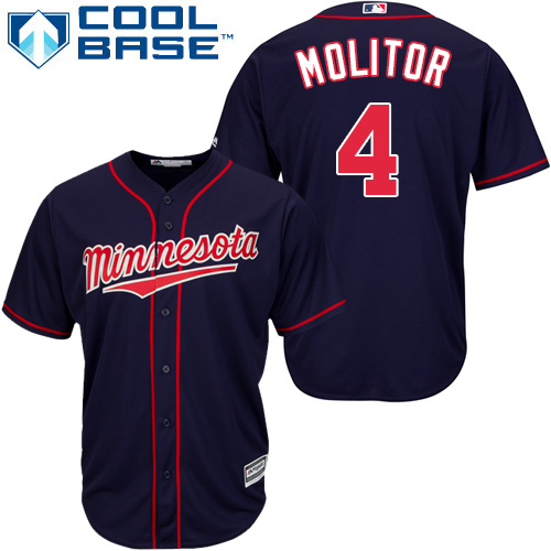 Men's Majestic Minnesota Twins #4 Paul Molitor Replica Navy Blue Alternate Road Cool Base MLB Jersey