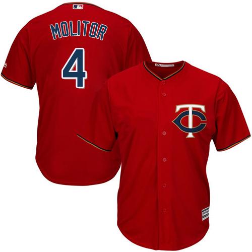 Men's Majestic Minnesota Twins #4 Paul Molitor Replica Scarlet Alternate Cool Base MLB Jersey