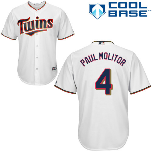 Men's Majestic Minnesota Twins #4 Paul Molitor Replica White Home Cool Base MLB Jersey