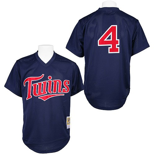 Men's Mitchell and Ness 1996 Minnesota Twins #4 Paul Molitor Replica Navy Blue Throwback MLB Jersey